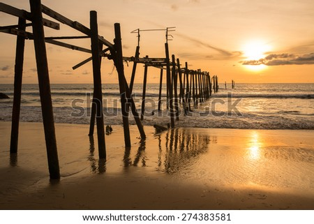Wooden fisherman bridge Sunset , Thailand