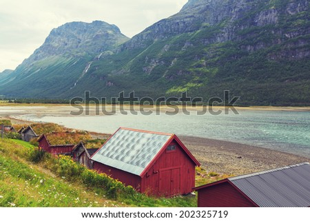 wooden fishing cabin in   Norway