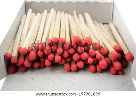 wooden flammable matches with red head