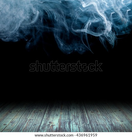 wooden floor against the backdrop of clouds of smoke - stock photo