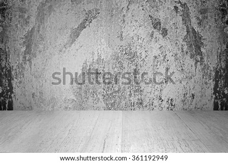 wooden floor and concrete white wall textured