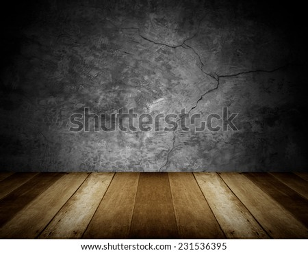 wooden floor and cracked stone wall background - stock photo