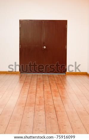 Wooden floor and Door  New room in my home - stock photo