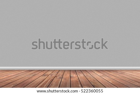 Wooden floor and gray wall background