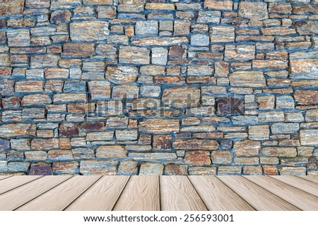 wooden floor and rock stone wall texture - room many natural hard strong classic interior design surface  - stock photo