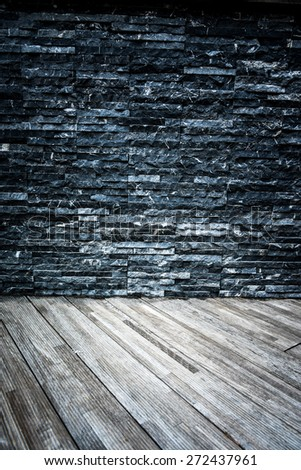 wooden floor and rock wall - room grunge plank gray background