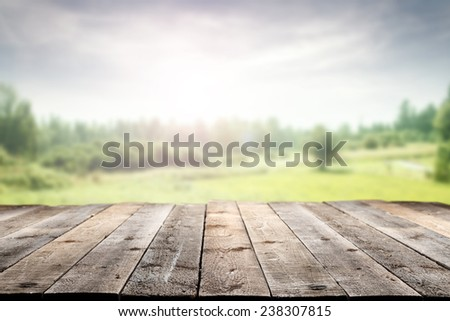 wooden floor and spring landscape  - stock photo