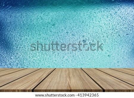 wooden floor for product design on water drop mirror - stock photo