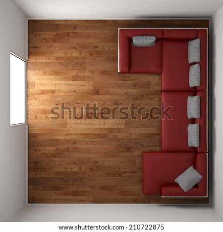 Wooden floor texture with red leather couch and pillow top view - stock photo