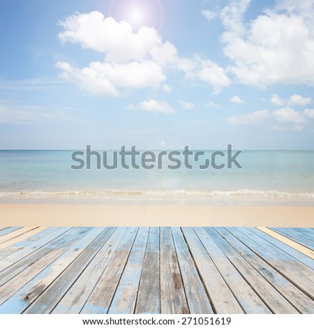 wooden floor with beautiful blue sky scenery for background - stock photo