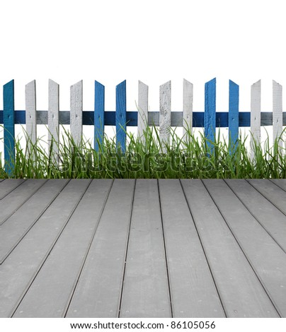 Wooden floor with fence and green grass, isolated on white background - stock photo