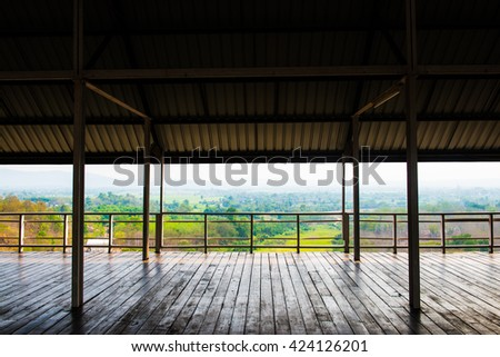 Wooden floor with natural view, Thailand - stock photo