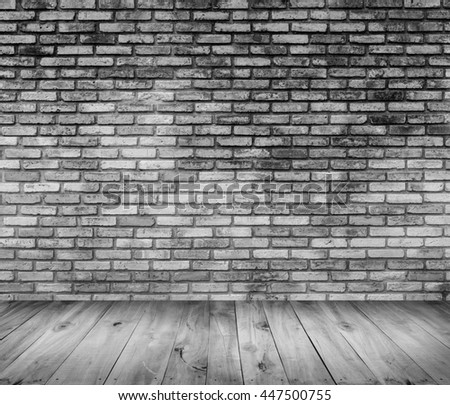 wooden floor with old brick wall texture background