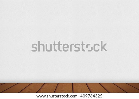 Wooden floor with white concrete wall background, Used for display or montage your products.