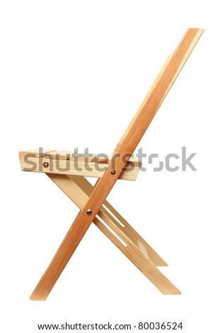 wooden folding chair isolated on white background - stock photo