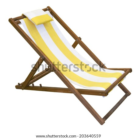 Wooden folding deck chair isolated on white with clipping path - stock photo