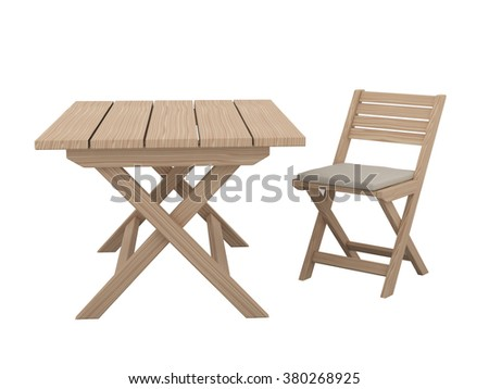 Wooden folding table and chair isolated on white background.