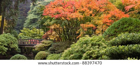 Wooden Foot Bridge at Japanese Garden in the Fall Panorama - stock photo