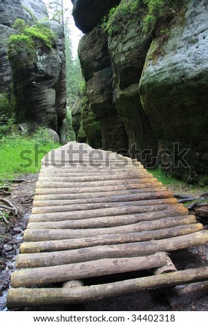 Wooden foot path leading through forest and rocks