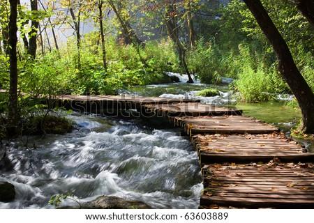Wooden footbridge across stream in the mountain forest, Croatia. - stock photo