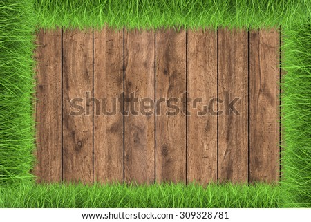 wooden footpath on green grass illustration