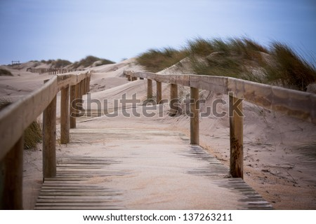 Wooden footpath through dunes at the ocean beach in Portugal - stock photo