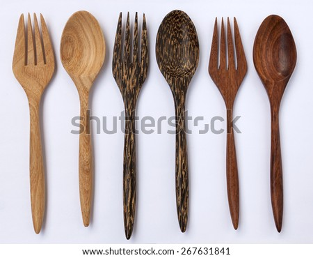 Wooden fork and spoon natural wood color collection - stock photo