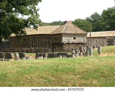 Wooden fort 1800 39 s with old wall in foreground and for Old wooden forts