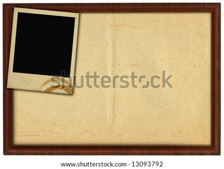 wooden frame and stained photo frame isolated on white background