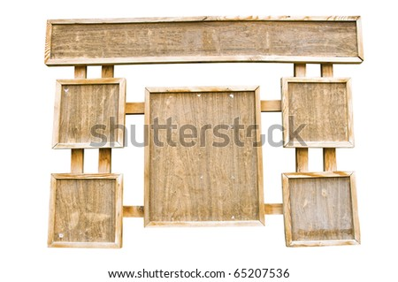 wooden frame board for announcements isolated on white background - stock photo