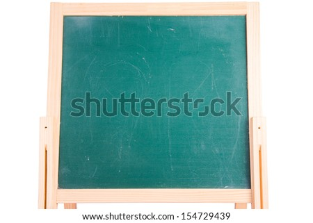 wooden frame chalkboard isolated on white background