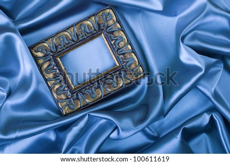 wooden frame cover with silk textured - stock photo