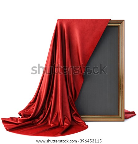 Wooden frame covered with a luxurious red cloth. Isolated on white background. - stock photo