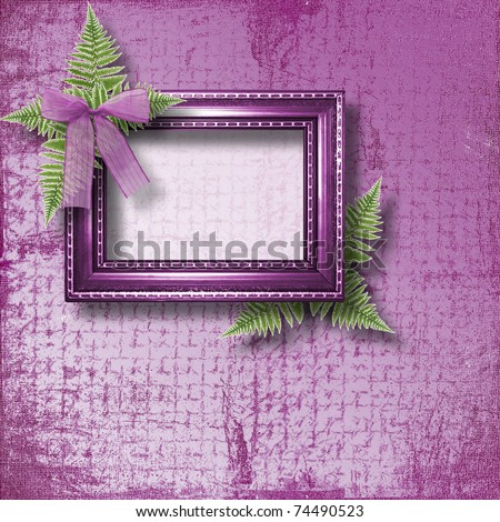 Wooden frame for photo with lilac orchids and green fern - stock photo