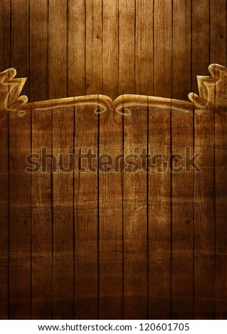 Wooden frame illustration. Artistic Hand painted wooden coutry western frame with copyspace. - stock photo