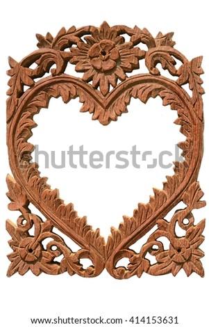 Wooden frame in heart shape on white background  - stock photo