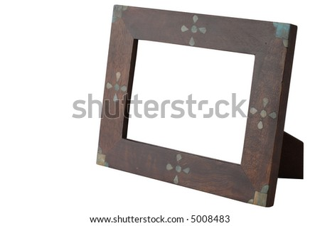 Wooden frame isolated and hollow on white. Includes clipping path. - stock photo