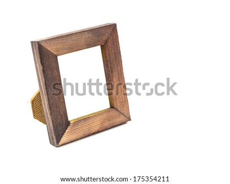 Wooden frame isolated on white background.