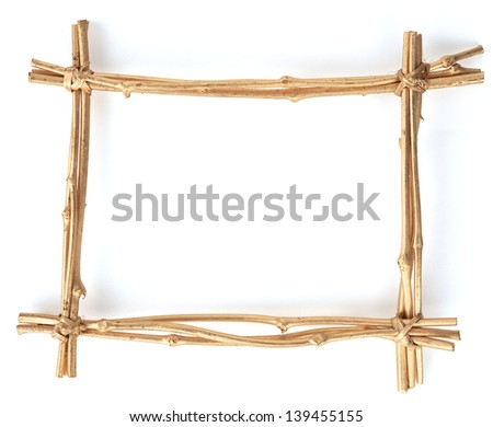 wooden frame of bamboo sticks - stock photo