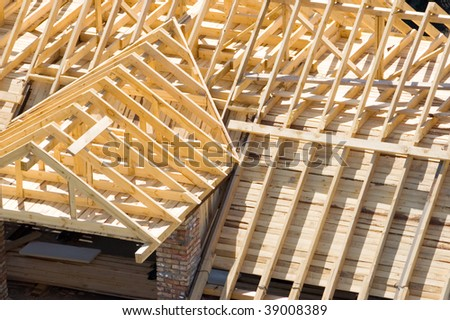 wooden frame of new roof