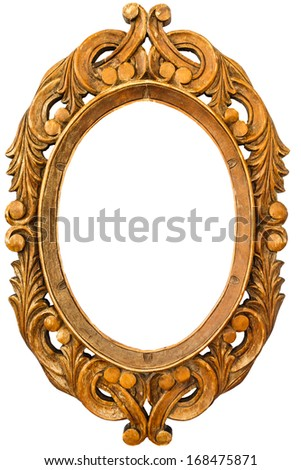 Wooden frame of old mirror in leaves pattern on white background(isolated) - stock photo