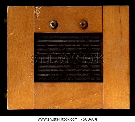 Wooden frame of wide distressed strips. Intended as a grungy picture frame. - stock photo