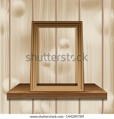 Wooden frame on a shelf against the wall of light wood. Eco concept. Raster copy - stock photo
