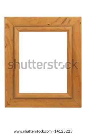 Wooden frame on white - stock photo