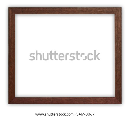 Wooden frame on white background, clipping path included