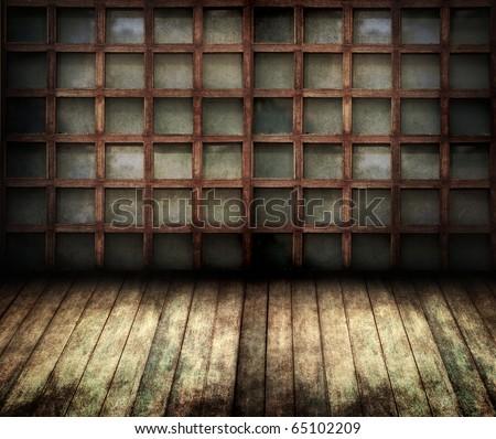 wooden frame room - stock photo