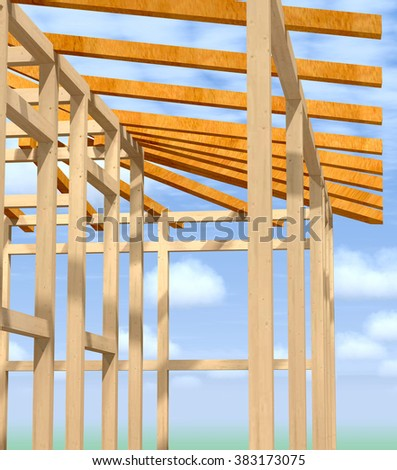 Wooden frame under construction apartment building against the sky. - stock photo