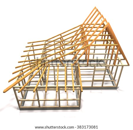 Wooden frame under construction apartment building on white background. - stock photo