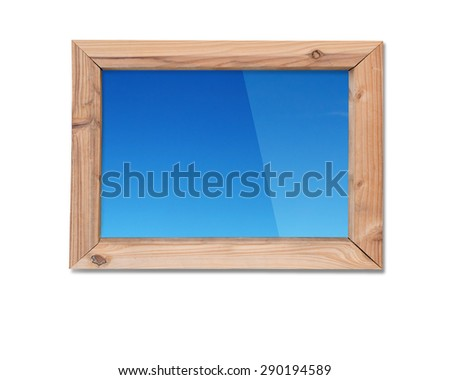 Wooden frame window with view of blue sky, isolated on white background. - stock photo