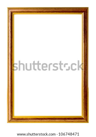 wooden frame with a gold rim - stock photo